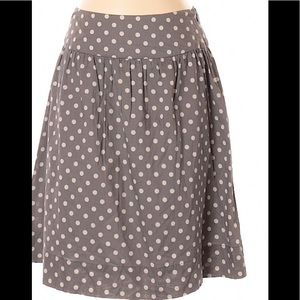 Garnet Hill Gray white polka Dot skirt cotton  4